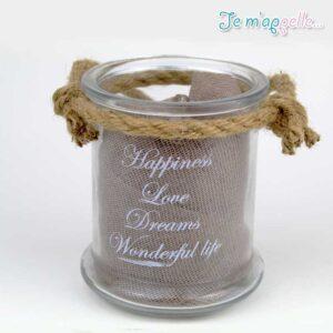 Γυάλινο βάζο , κηροπήγειο με ευχές στα αγγλικά & κορδόνι από λινάτσαΓυάλινο βάζο , κηροπήγειο με ευχές στα αγγλικά & κορδόνι από λινάτσα