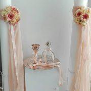 Λαμπάδα γάμου με μπουκετάκι και γάζα στο χρώμα επιλογής