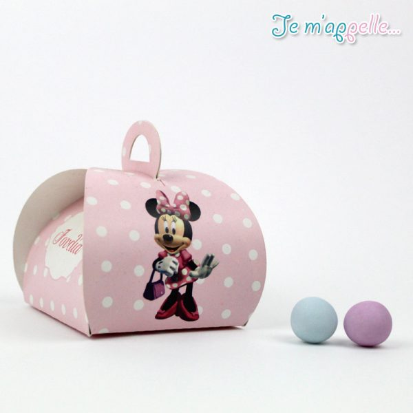Μπομπονιέρα χάρτινο κουτάκι με τύπωση Minnie Mouse πουά ροζ