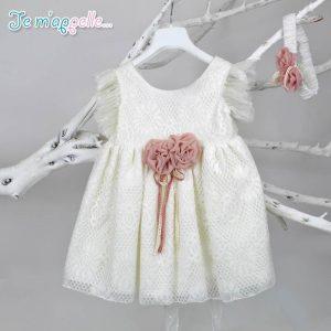 Φορεματάκι εκρού με ιδιαίτερη δαντέλα & διακόσμηση σάπιο μήλο