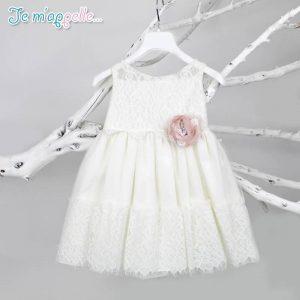 Φορεματάκι ιβουάρ με λουλουδάκι σάπιο μήλο & δαντέλα