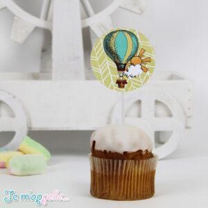 Cupcake toppers με θέμα αερόστατο
