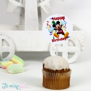 Cupcake toppers με θέμα Mickey mouse happy birthday