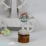 Cupcake toppers με θέμα μονόκερος ρόζ βεραμάν