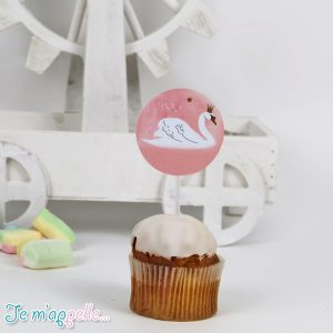 Cupcake toppers με θέμα κύκνο