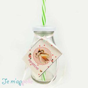 Μπομπονιέρα μπουκάλι γυάλινο με καλαμάκι και θέμα κύκνο