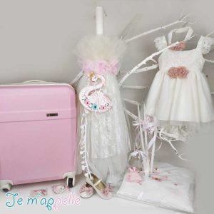 Πακέτο βάπτισης με θέμα κύκνος και χρώματα ρόζ & λευκό