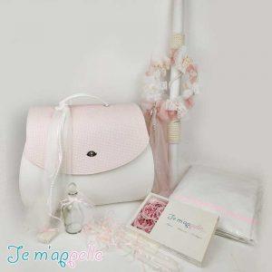 Πακέτο βάπτισης με τσάντα ρόζ και λαμπάδα με στεφανάκι