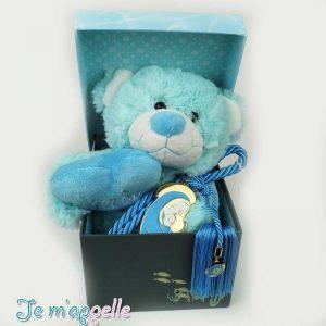 Δώρο για νεογέννητο παναγίτσα γούρι και λούτρινο αρκουδάκι