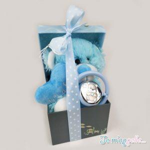 Δώρο για νεογέννητο ασημένια κουδουνίστρα με αρκουδάκι
