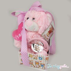 Δώρο για νεογέννητο ασημένια κουδουνίστρα και αρκουδάκι