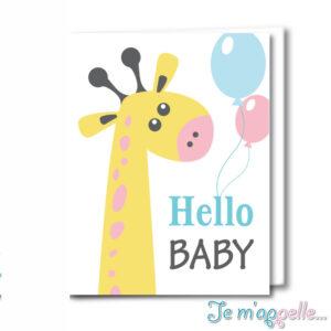 Ευχετήρια κάρτα καμηλοπάρδαλη για αγοράκι και κοριτσάκι