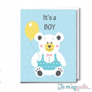 Ευχετήρια κάρτα αρκουδάκι για αγοράκι και κοριτσάκι
