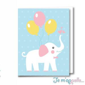Ευχετήρια κάρτα ελεφαντάκι για κοριτσάκι η αγοράκι