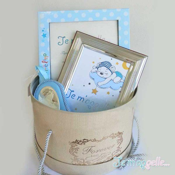 Δώρο για νεογέννητο αγοράκι ασημένια κορνίζα και εικόνα