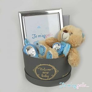 Δώρο για νεογέννητο αγοράκι ασημένιο σέτ εικόνα , κορνίζα και πιπιλοπιάστρα