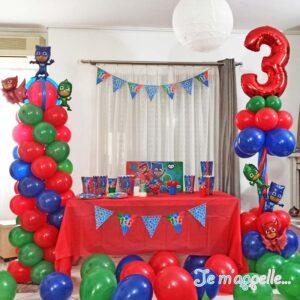 Σύνθεση απο μπαλόνια για πάρτυ Πιτζαμοήρωες